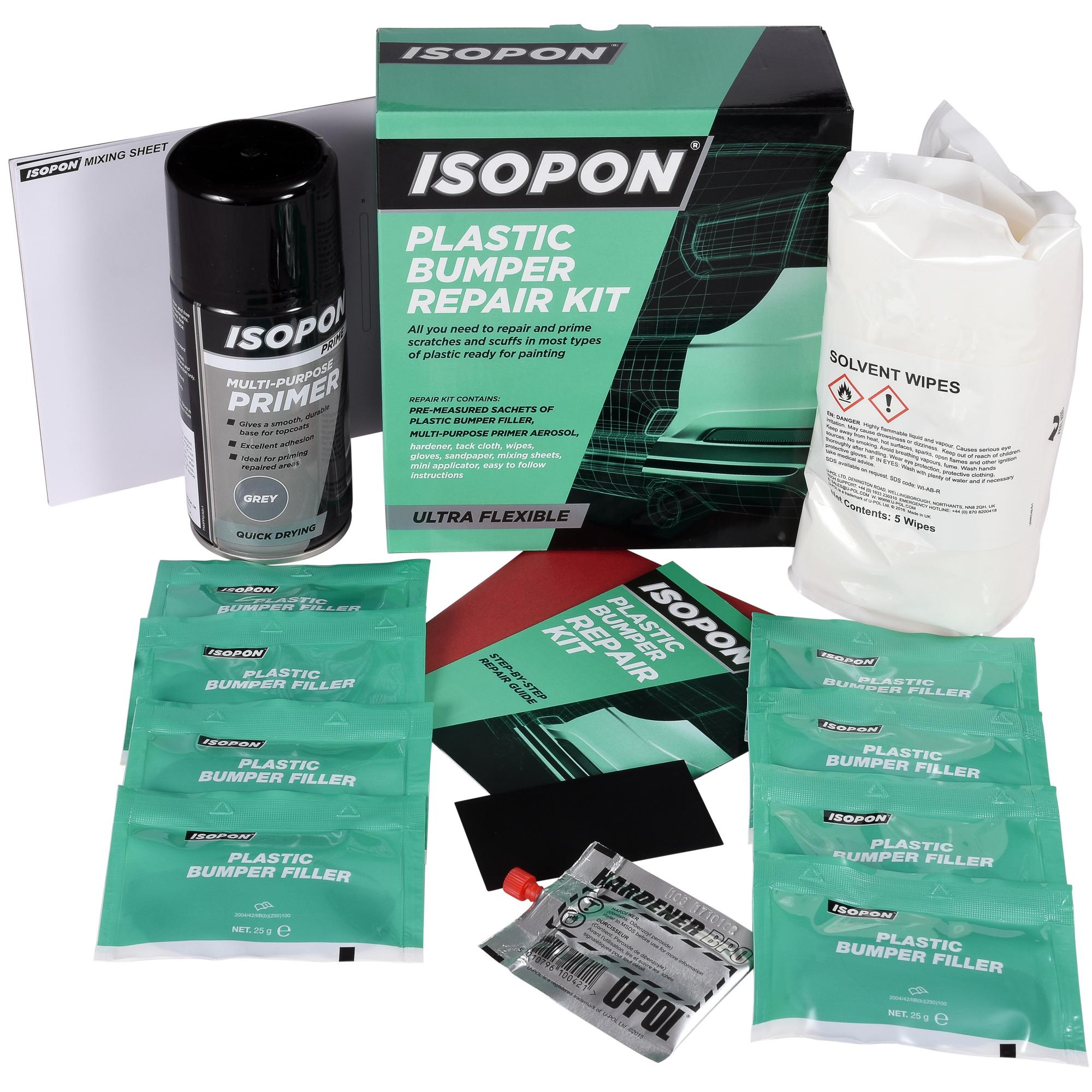 plastic bumper repair kit from Isopon. How to use the kits
