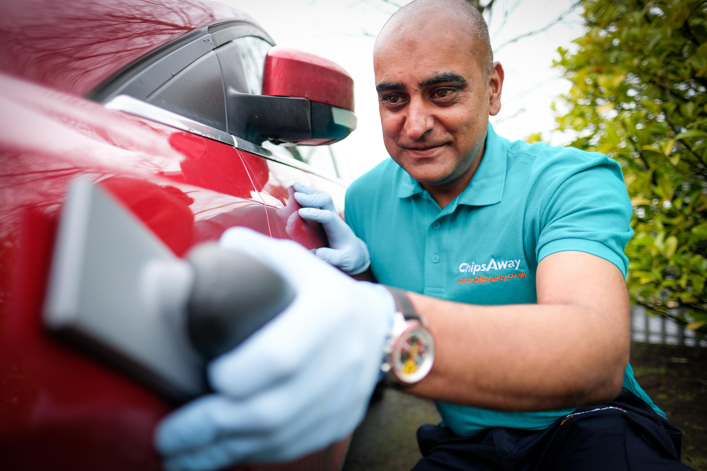 chipsaway repair red car and sanding