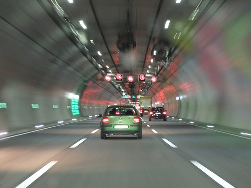 Green Car In Tunnel