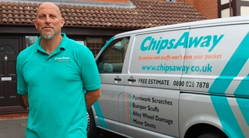 chipsaway franchisee stood next to a chipsaway van