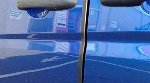 a blue car door with door protectors