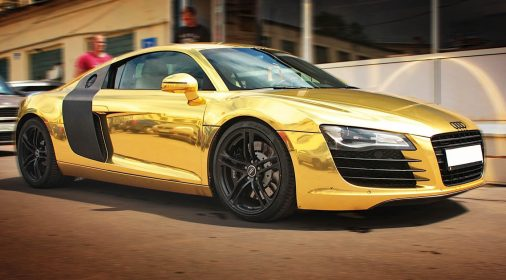 gold car wrapping