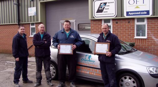 chipsaway specialists holding a certificate