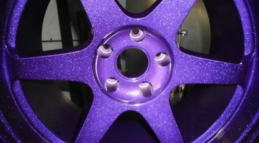 purple powder coating on an alloy wheel