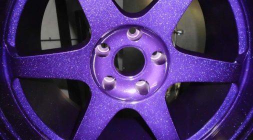 purple powder coating on an alloy wheel