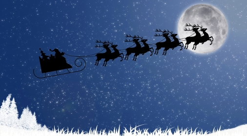 Santa Claus with reindeer sleigh flying against the moon