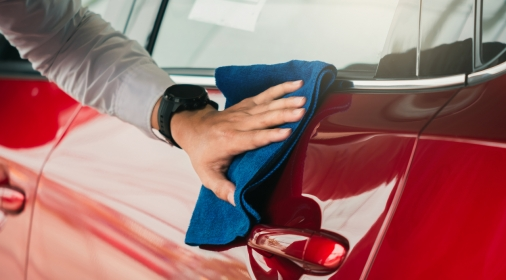 Man inspection and cleaning Equipment car wash With red car For cleaning to quality to customer on car showroom of service transport automobile transportation automotive image.