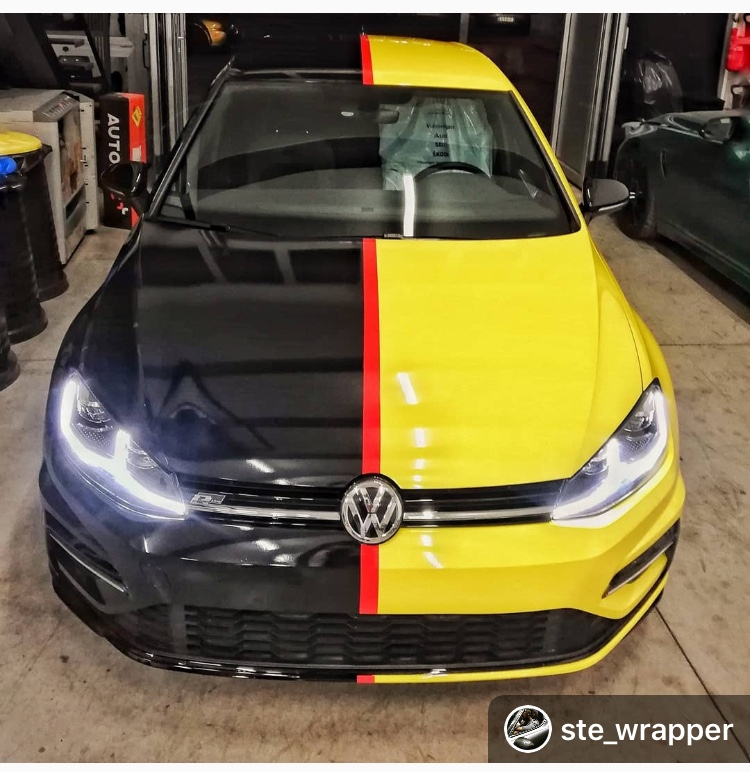 black, yellow and red car wrap