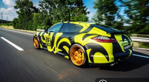yellow and black car wrap