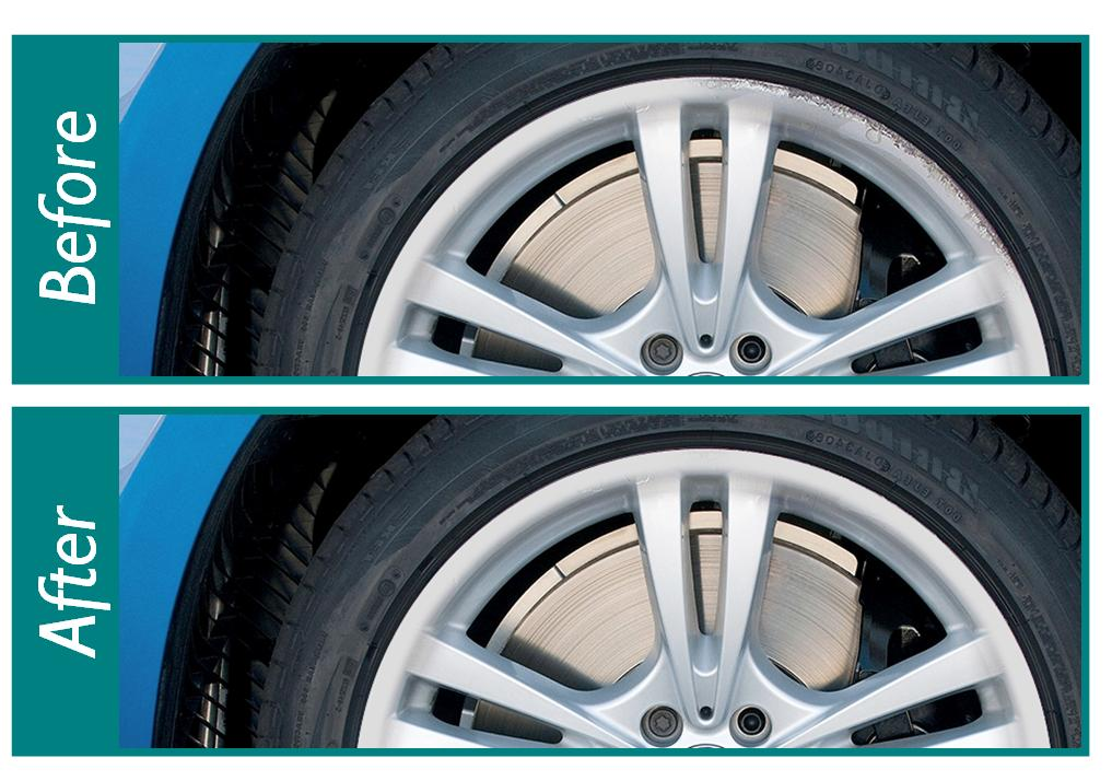 alloy wheels with scuffs before and after repair