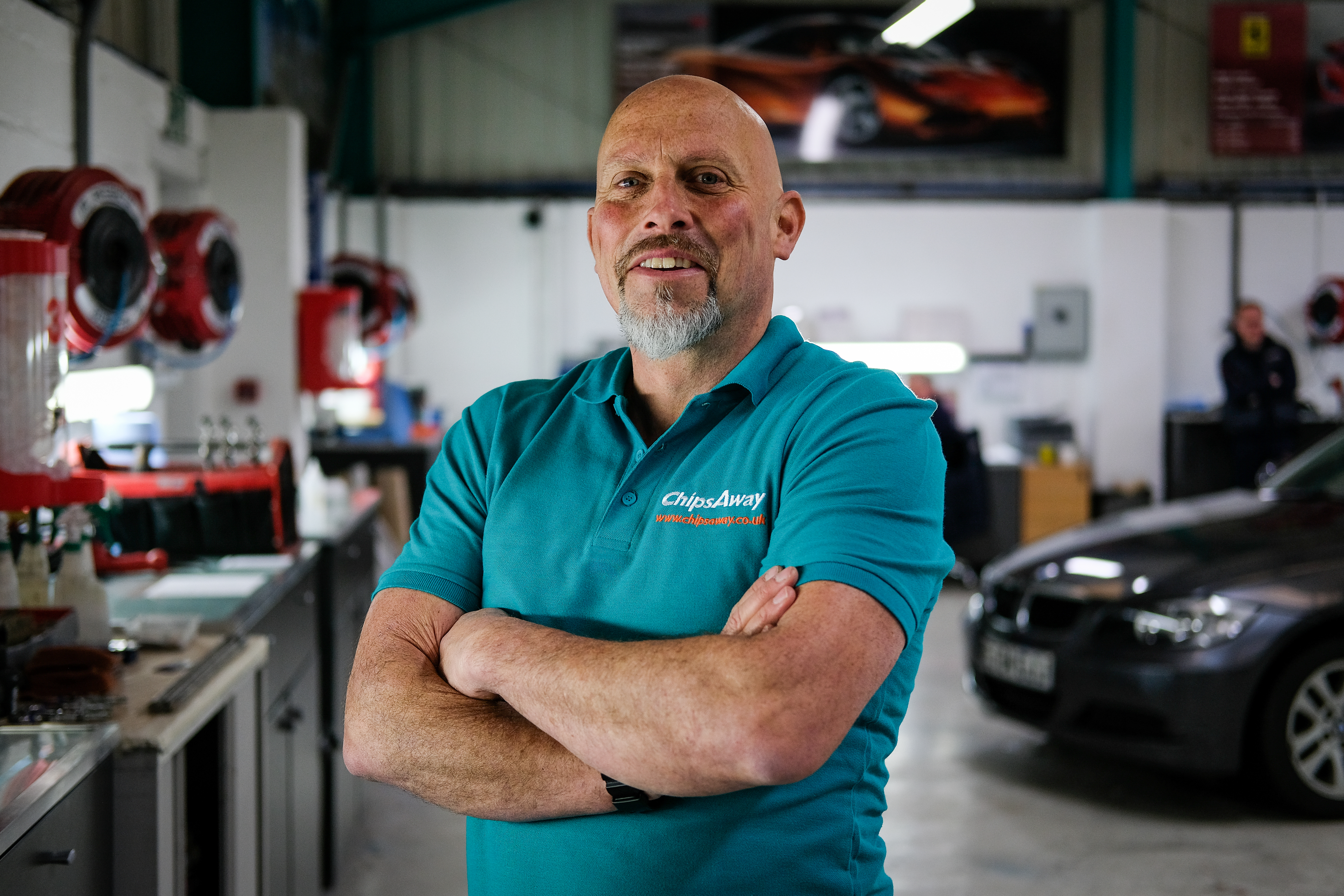 Richard Dexter Chipsaway franchisee standing in car care centre