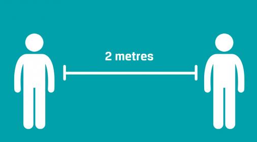 Safe 2 meter distance between repair specialist and customer