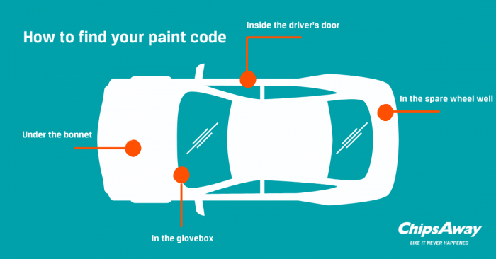Diagram of how to find cars colour paint code