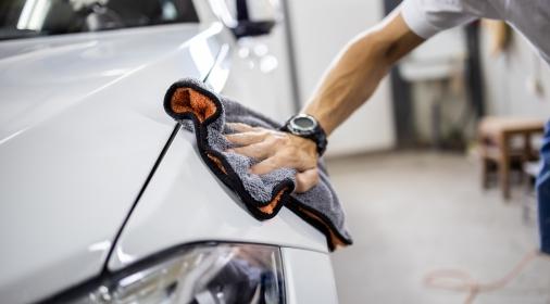 Car polishing details in workshop stock photo