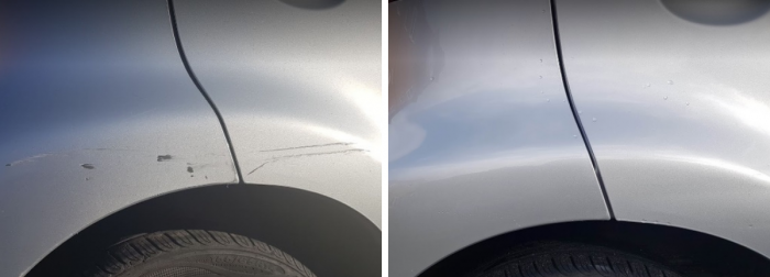 Car Wheel arch before and after a ChipsAway car scratch repair